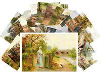 Postcards Pack [24 cards] Vintage Country Girl Rural Garden Landscape CD3004