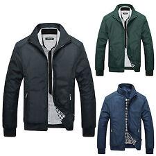 Mens Long Sleeve Slim Zipper Bomber Biker Jacket Coat Autumn Winter Outwear Tops