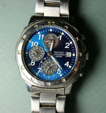 BEAUTIFUL blue Seiko Chronograph 50M 7T92 OCAO wristwatch WORKS, must c how nice