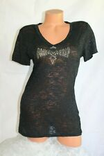 SWEET GIRL (S) Tee Top Black Burn Out Rhinestones BONE WRAP LEATHER Design Shirt