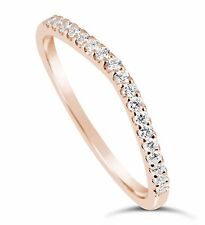 14K Rose Gold Simulated Diamond Wedding band Ring Curved 0.20 Ct F VVS1 Guard