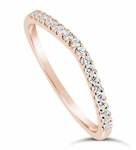 0.20 Ct 14K Rose Gold Simulated Diamond Wedding band Ring Curved F VVS1 Guard