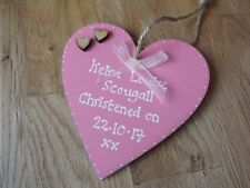 Pink hanging heart sign plaque wedding gift baby shower gift Christening gift