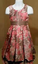 Monsoon Floral Taupe Brown Pink Polyester & Silk Fully Lined Dress Sz 4-5 years