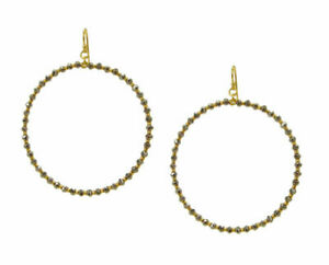 Chan Luu Gold Hoop Earrings with Silver Crystals and Seed Beads