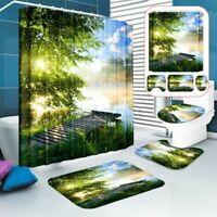 4Pcs Rutschfest Toilette Abdeckung Teppiche Matte Bad Wasserfest Duschvorhang Y