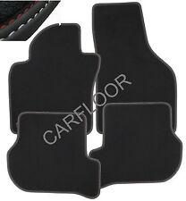 Für BMW 7er E66 Fußmatten Velours Deluxe schwarz Nubukband Doppelnaht rot-weiß