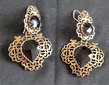 ★★Bijou ancien Boucles d'oreilles dormeuses métal et pierres taillées Facettées