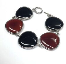 Chunky Ornate Sterling Silver Rounded Onyx & Carnelian Link Toggle Bracelet 7""