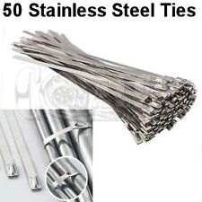 """12"""" 50 STAINLESS STEEL ZIP TIES CABLE CLAMPS EXHAUST PIPE HEADER WRAP HIGH TEMP"""