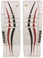 "New Vaughn 1000 senior ice hockey goalie leg pads 36""+2 Sr Velocity V6 Black/Red"