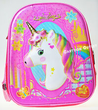 UNICORN BACKPACK GIRLS SCHOOL BAG 3D FACE TRAVEL MOCHILA UNICORNIO RAINBOW PINK