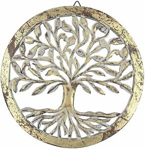 DharmaObjects Handcrafted Carved Wood Tree of life Wall Decor / Plaque Panel