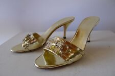 Gucci 38 C gold mules excellent Shoes box bag 213207
