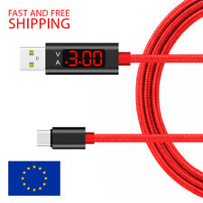 USB C USB Type C Charging Data Sync Nylon Cable With Voltage Current LED Display
