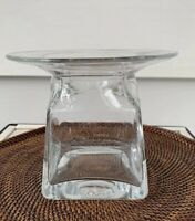 """Square Vase with Flared Round Rim Clear Glass Excellent Condition 5 3/4"""" Tall"""