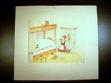 Little Red Riding Hood 1950 Original Watercolor Sketch By C. Schattauer Kelm