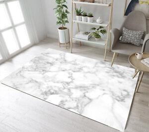 Floor Rug Mat White & Grey Marble Design Bedroom Carpet Living Room Area Rugs