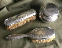 Gorham Sterling Silver Vanity Set Powder Box with Lid, 2 Brushes, Mono