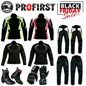 Women Motorcycle Riding Cordura Suit Motorbike Leather Boots Racing Gloves Armor