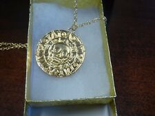 USA Seller- JACK SPARROW AZTE Pirates of the Caribbean Gold Coin Medal Necklace