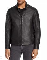Cole Haan Men's Leather Racer Jacket Size Medium / Black