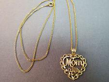 "VTG 14k Yellow Gold Heart Mom Pendant Designer OR Necklace 2.42g 18"" Diamond Cut"
