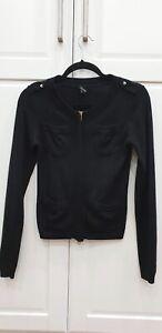 Joseph Sandro Black Military Style Wool Cashmere Cardigan Jacket Size S