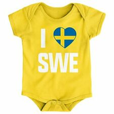 "World Cup Soccer Sweden Infants ""I Heart"" Short Sleeve Bodysuit, Yellow, 24 M."