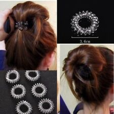 6pcs/lot Women Clear Elastic Rubber Hair Ties Spiral Slinky Rubber Rope Hairband