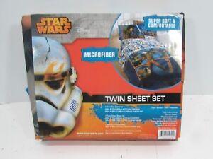 Disney Star Wars Kids Microfiber 3 Piece Sheet Set Twin size w/ Pillow Case NEW