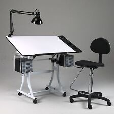 Drawing / Art / Hobby / Craft Table Desk | w/ Drawers, Side Tray, Lamp & Chair
