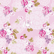 """GLOSSY SATIN COTTON FABRIC BEDDING COVERING CLOTHES SHABBY ROSE FLORAL PINK 44""""W"""