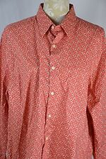 Perry Ellis Womens XL Raspberry Flower Button Down Long Sleeve Dress Shirt Top