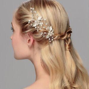 2pcs Wedding Bridal Bridesmaid Pearl Crystal Leaf Headpiece Hair Pin Hairpin