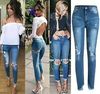 Womens Denim Bodycon Trousers High Waist Jeans Stretchy Bum Back Zip Legging Fit