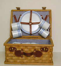 Picnic Basket for 4 Woven Wood Leather Handle Suitcase Style Blue White Interior