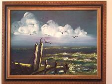 """Original Acrylic Painting on Canvas~Water Seascape~Signed~Framed 30"""" by 23"""""""