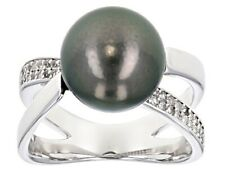 10-11mm Cultured Tahitian Pearl With 0.28ctw White Topaz Rhodium over Sterling S