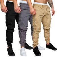 Mens Slim Fit Urban Straight Leg Trousers Pencil Jogger Cargo Pants Casual