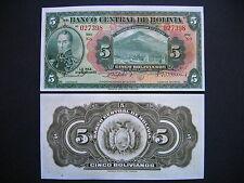 BOLIVIA  5 Bolivianos 1928  (P120a)  UNC