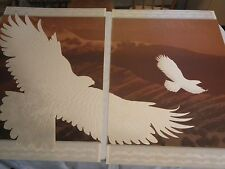 Vintage 1970's Don Munz Wind Rider 1 and 2 relief Flying Eagle Print signed