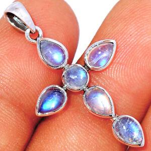 Cross - Moonstone - India 925 Sterling Silver Pendant Jewelry BP85635