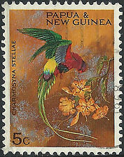 PNG 1967 5c Christmas Territory Parrots  VFU  (38)  Clean, minor crease on back