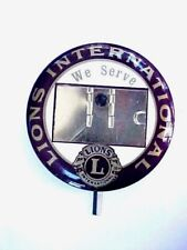 "LARGE VINTAGE 1950'S LIONS CLUB INTERNATIONAL NAME BADGE 3 1/4"" Dia."