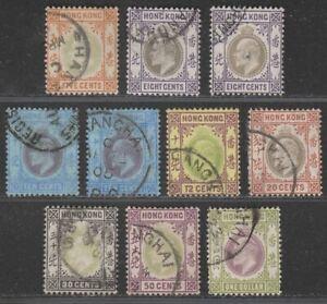 Hong Kong 1903 King Edward VII Part Set to $1 Used w SHANGHAI Postmarks