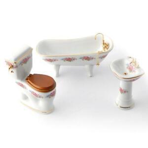 Casa Delle Bambole Dresden Rosa Reutter Porcellana Bagno Suite Miniatura Mobili