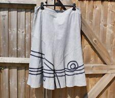 M&S Per Una Light Blue / Navy Applique Flared Hem Midi Skirt - Size 18 - BNWOT