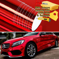 "48"" x 60"" Red Chrome Mirror Vinyl Film Wrap Sticker Decal Stretchable 4ft x 5ft"