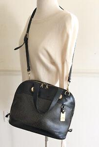 Vintage Dooney Bourke All-Weather Black Pebble Leather Domed Satchel HandBag USA
